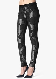 The Pieced Skinny in Black Grey Floral Shantung