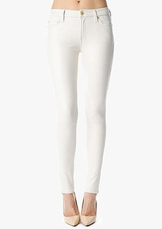 The Seamed Skinny in Crackled Leather-Like Antique White