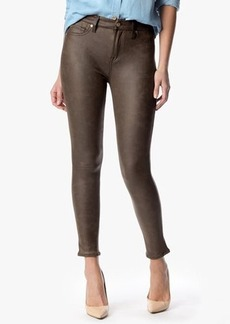 "The Seamed Skinny in Crackled Leather Like Bark (28"" Inseam)"