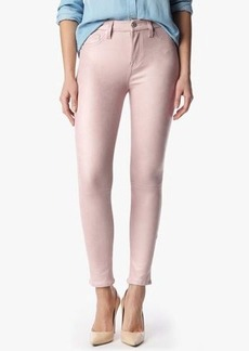 "The Seamed Skinny in Crackled Leather Like Dusty Pink (28"" Inseam)"