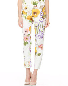 Slim Floral Ankle Pants   Slim Floral Ankle Pants