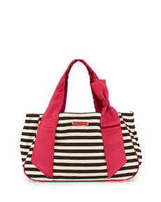 Betsey Johnson Ribbons & Bows Striped Canvas Tote, Leopard Print/Black