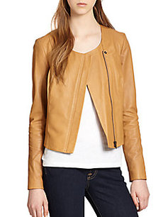 Joie Emelyn Back-Peplum Leather Jacket