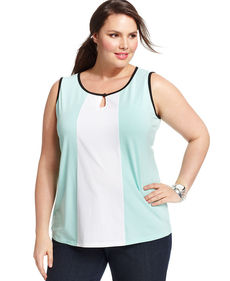 Jones New York Plus Size Sleeveless Colorblocked Keyhole Top