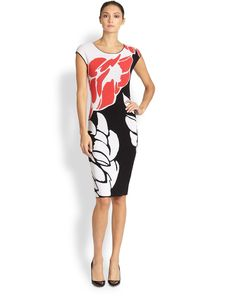 Escada Lotus Print Knit Dress