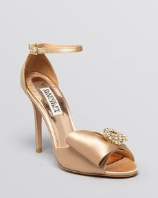 Badgley Mischka Open Toe Evening Sandals - Tess Bow High Heel