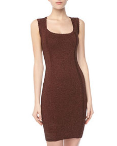 French Connection Shimmer Knit Sheath Dress, Bitter Plum