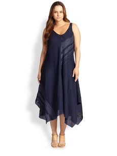 Eileen Fisher, Sizes 14-24 Linen Embroidered Asymmetrical Dress