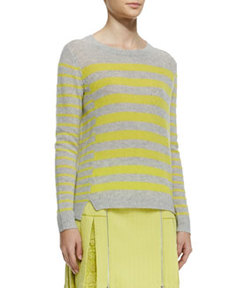 Striped Rib-Trim Cashmere Sweater   Striped Rib-Trim Cashmere Sweater