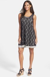 kensie Lace Overlay Stripe Jersey Dress