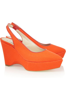 Stella McCartney Canvas wedge slingbacks