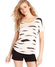 kensie Short-Sleeve Animal-Print Striped Tee