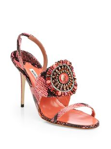 Manolo Blahnik Ronda Jeweled Snakeskin Sandals