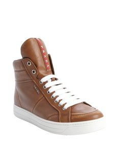 Prada brandy leather zipper detail high top sneakers