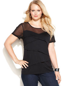 INC International Concepts Plus Size Illusion Tiered Top