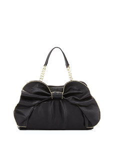 Betsey Johnson Bow-Dacious Bead Trimmed Satchel Bag, Black