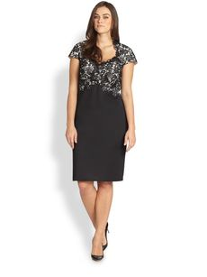Tadashi Shoji, Sizes 14-24 Lace-Bodice Sheath Dress