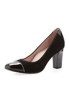 Taryn Rose Chloris Suede Cap-Toe Pump, Black