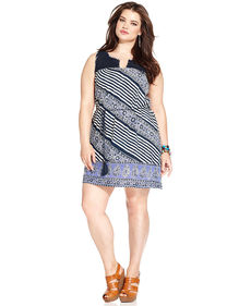 Lucky Brand Plus Size Sleeveless Printed Crochet Dress