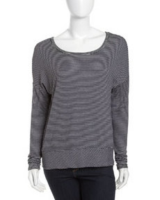 Three Dots Micro-Stripe Knit Sweater, Night Iris