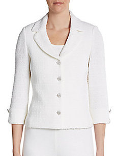 St. John Boucleé Embellished-Button Jacket