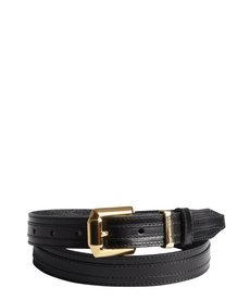 Burberry black shined leather stitched gold buckle belt
