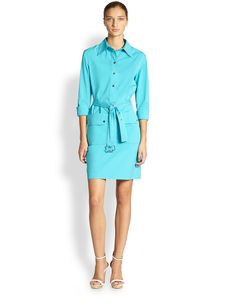 Michael Kors Tie-Belt Shirtdress