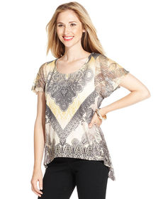 Style&co. Plus Size Sublimated Handkerchief-Hem Top