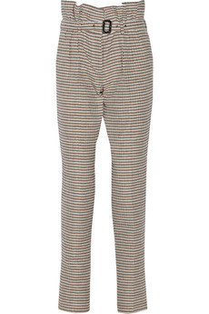 Burberry Prorsum Belted textured cotton and silk-blend pants