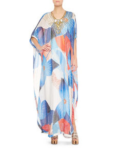 Clare Beaded Technicolor Long Dress, Multicolor   Clare Beaded Technicolor Long Dress, Multicolor