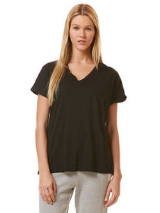 roll sleeve raw edge v-neck tee