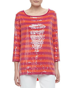 Joan Vass 3/4-Sleeve Sequin-Front Striped Tunic