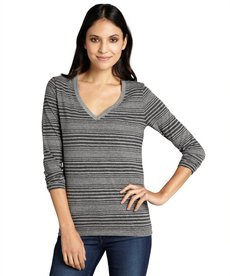 Three Dots charcoal and granite multi stripe cotton blend v-neck top