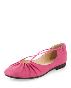 Taryn Rose Bryan Ruched Crisscross Ballerina Flat, Pink Flash