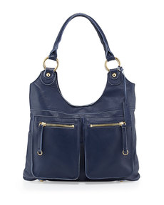 Linea Pelle Dylan Front-Pocket Leather Tote Bag, Blue