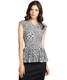 Rebecca Taylor grey and white leopard print stretch jersey peplum top