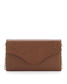 Foley + Corinna Handle-Embossed Wallet Crossbody, Brown