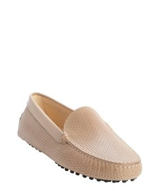 Tod's tan perforated leather loafers