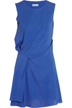 Jil Sander Gathered stretch-silk dress