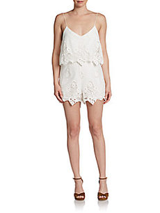 Saks Fifth Avenue GRAY Gardner Lace Short Jumpsuit