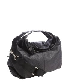 Furla black ostrich embossed leather 'Elisabeth' hobo