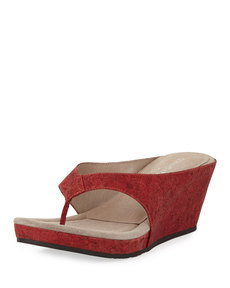 Donald J Pliner Gilles Cork Wedge Thong Slide, Red