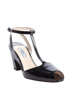 Prada black patent leather t-strap peep toe pumps