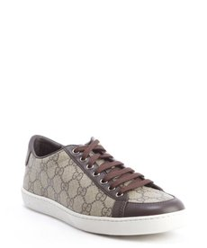 Gucci brown and beige leather accent GG canvas lace up sneakers