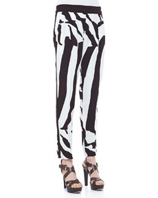 Escada Zebra-Print Pull-On Pants