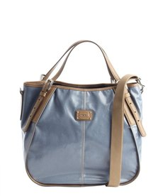 Tod's slate blue and tan leather logo stamp convertible shoulder bag