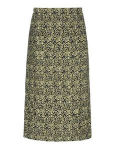 MARNI Skirt in natté jacquard. Unlined, pencil skirt. Waist gathered by internal elastic. Closure by means of a concealed zipper. Vertical seam and darts at the back. Knee-length, pocketless garment with a border sewn onto the bottom.