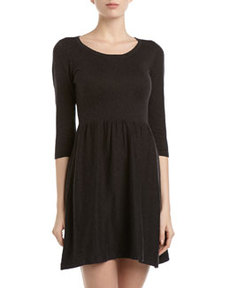 French Connection Knit Fit-and-Flare Dress, Charcoal