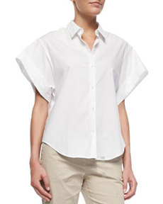 Light Poplin Wide Short-Sleeve Shirt   Light Poplin Wide Short-Sleeve Shirt