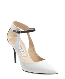 Jimmy Choo white and flame snakeskin heel anklestrap 'Malta' pumps